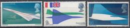 1967 Great Britain, CONCORDE Complete Set 3 Values MNH - British Indian Ocean Territory (BIOT)