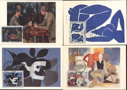 4 CM Carte Maximum Tableau Le Messager Nus Bleus Joueur De Cartes Et 14 Juillet 1961 Paris YT 1319 à 1322 1er Jour - 1960-1969