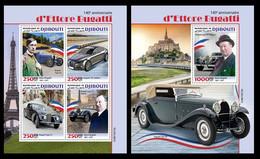 Djibouti 2021 140th Anniversary Of Ettore Bugatti. (212) OFFICIAL ISSUE - Coches