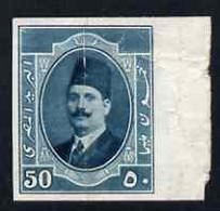 Egypt 1923-24 King Fuad 50m Bluish-green Imperf Marginal Proof On Ungummed, Unwatermarked Paper, Badly Creased And Wrink - Unused Stamps