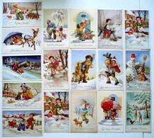 17 Cp - Gelukkig Nieuwjaar - Enfants - Bonhomme De Neige - Chiens - Luge - Oiseaux - Poste - Biche - Patinage - 5 - 99 Postcards