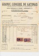 Facture Grande Cidrerie Du Gâtinais ( Roguet Dussouillez ) à COURTENAY 45 Loiret - 1900 – 1949