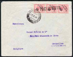 Egypt 1924 Ship Cover To Belgium Bearing Fuad 3 X 5m Adhesives Cancelled By Straight Line PAQUEBOTS Cachet And Tied Post - Unused Stamps
