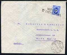Egypt 1925 Ship Cover To Vienna, Austria Bearing Fuad 15m Cancelled By Straight Line VAPORE D'ALESSANDRIA Cachet In Blac - Unused Stamps