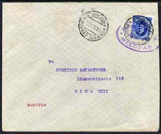 Egypt 1926 Ship Cover To Vienna, Austria Bearing Fuad 15m Cancelled By Lloyd Triestino Steamboat HELOUAN Cachet In Viole - Unused Stamps