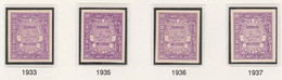 Egypt 1926-35 Official 10m Violet Four IMPERF Singles Each On Thin Cancelled Card (different Shades From Various Printin - Unused Stamps