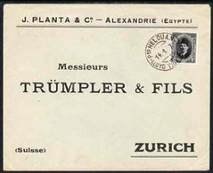 Egypt 1927 Ship Cover To Zurich, Switzerland Bearing Fuad 2m Cancelled By Lloyd Triestino Steamboat HELOUAN Date Stamp O - Unused Stamps