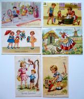 6 Cp - Hartelijk Gefeliciteerd - Enfants - Ecureuil - Bain - Moulin - Molen - HANNIE HOLT - ELSA - 5 - 99 Postcards