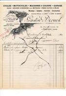Facture Illustrée Cycles Motos ( Anc. Leroy Godin Drouet ) GASTON DROUCH   à COURTENAY 45 Loiret - 1900 – 1949