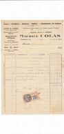 Facture Quincaillerie ( Anc. Buisson ) MAURICE COLAS  à COURTENAY 45 Loiret - 1900 – 1949