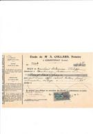 Facture Notaire COLLARD  à COURTENAY 45 Loiret - 1900 – 1949