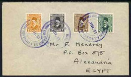 Egypt 1929 Ship Cover To Alexandria Bearing Fuad 1m, 2m, 3m & 4m Each Tied KHEDIVIAL MAIL S/S & GRAVID DOCK COMPANY LTD - Unused Stamps