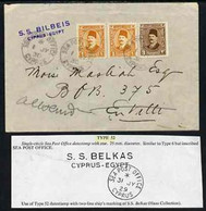 Egypt 1930 Sea Post Office Cover To Envilli (?) Bearing 2 X 1m & 3m Fuad Tied SEA POST OFFICE, CYPRUS, Endorsed SS BILBE - Unused Stamps