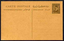 Egypt 1935 King Fuad 3m P/stat Card In Brown On Toned Card, Very Rare Thus And Pristine - Unused Stamps