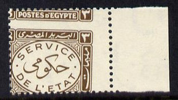 Egypt 1938 Official 3m Brown Marginal Single With Misplaced Perforations Specially Produced For The King Farouk Royal Co - Unused Stamps