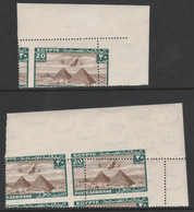 Egypt 1933 HP42 Over Pyramids 20m With Misplaced Perforations. A Corner Single And A Corner Pair Showing The Tilt Of He - Unused Stamps