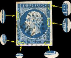 France - Yv.14A 20c Bleu T.1 - Petites Variétés Mais Non Planché - Obl. PC1317 (Fougères) TB Sur Fragment (ref.04zm) - 1853-1860 Napoléon III