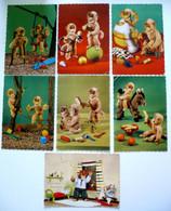 7 Cp Dentelées - Anthropomorphisme - Singe En Peluche Humanisé - Balançoire Manucure Bain Jeux Coiffeur Monkey - 5 - 99 Postcards
