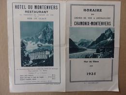 Horaire Du Chemin De Fer à Crémaillère Chamonix-Montenvers 1935. - Publicités
