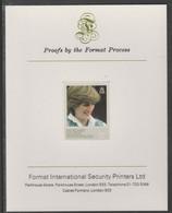 Falkland Islands Dependencies 1982 Princess Di's 21st Birthday 17p Imperf Proof Format International Proof Card, As SG 1 - Falkland Islands