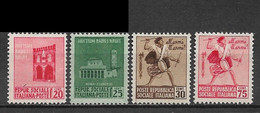 Italian Social Republic 1944. Scott #19-21 (MH) Loggia Dei Mercanti, Basilica & Drummer Boy ** Complete Set - Ongebruikt