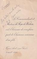 ADEL NOBLESSE  LE COMMANDANT ET Mad. DE ROYE DE WICHEN      UN FILS  EVRARD  1922 GHEEL - Birth & Baptism