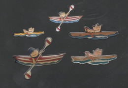 PINS PIN'S  CANOE KAYAK  AVIRON 722 JO JEUX OLYMPIQUES BARCELONA 1992 BARCELONE  LOT 5 PINS TOUS DIFFERENTS - EDF GDF