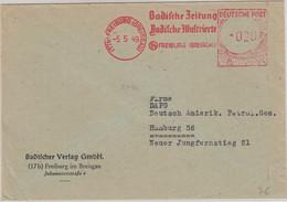 FZ/Baden - Badische Zeitung 20 Pfg. AFS Brief Freiburg - Hamburg 1949 - Coins