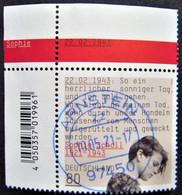 """Bund/BRD Mai 2021,  Sondermarke """"100. Geburtstag Sophie Scholl"""" MiNr 3606, Eckrand, Gestempelt - Gebruikt"""