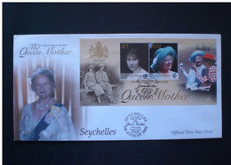 SEYCHELLES 2002  FIRST DAY COVER THE QUEEN MOTHER - Seychelles (...-1976)