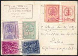 1938 Soproni Tábori Futárposta I. Teljes Sorozat + Szent István Bélyegek Levelezőlapon Hidegvölgyből Szófiába. A Lapot E - Non Classificati