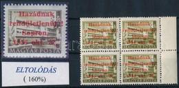 ** 1956 Sopron 4Ft Négyestömb Eltolódott Felülnyomással, Leitold Igazolással (240.000+) / 4Ft Block Of 4 With Shifted Ov - Non Classificati