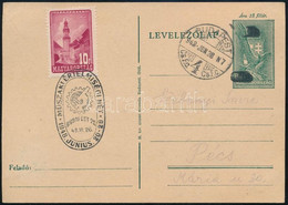 1948 1944-es Kiadású 18f Díjjegyes Levelezőlap Lefestett Koronával és értékjelzéssel, 10f Bérmentesítéssel és Alkalmi Bé - Non Classificati