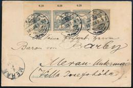 1900 Feketeszámú 1kr és Turul 1f ívsarki Hármascsík Vegyes Bérmentesítés Képeslapon Olaszországba, érkezési Bélyegzéssel - Non Classificati