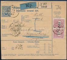 """1896 Két Nyelvű Postai Szállítólevél Bal Oldali értékjegy!!! Külföldre, Bajorországba Küldve 2 X 15kr Bérmentesítéssel """" - Non Classificati"""
