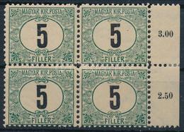 """** 1903 Zöldportó """"B"""" 11 1/2 Fogazás 5f ívszéli Négyestömb (64.000) - Non Classificati"""