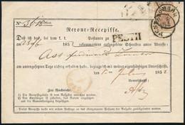 1852 Retour Recepisse Pestről Zomborra Küldött Ajánlott Levélről 6kr Bérmentesítéssel + 6kr Bélyeg Maradványával - Non Classificati