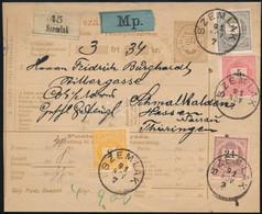 """1891 Utánvételes Csomagszállító Németországba 2kr + 5kr + 8kr + 24kr = 38kr  Színes Bérmentesítéssel, """"SZEMLAK"""" Kiállítá - Non Classificati"""