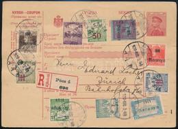 1920 Szerb Postautalvány Ajánlott Küldeményként Feladva Pécsről Zürichbe, 10 Bélyeges Bérmentesítéssel, Közte 9 Db Baran - Non Classificati