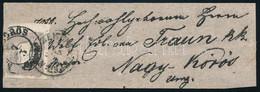 """~1861 Szürke Hírlapbélyeg Felül ívszéllel, Bal Oldalon Szűken Vágva, Címszalag Előlapon """"N(AGY K)ÖRÖS"""" - Non Classificati"""