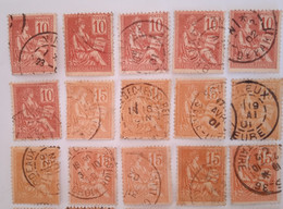 Lot Type Mouchon. Oblitérations Multiples. - 1900-02 Mouchon