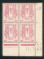 Lot 4516 France Coin Daté N°672 Chaînes Brisées  (**) - 1940-1949