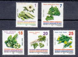 Macedonia 2021 Vegetables Okra Lettuce Brussels Sprout Parsley Arugula, Definitive Set MNH - Gemüse