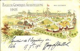 SUISSE BASLER BALE GEWERBE AUSSTELLUNG 1901 17 SEPTEMBRE 1901 EXPOSITION DE BALE BELLE CARTE - BS Bâle-Ville