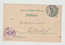 Wuerttemberg - 1909 - Dienstpostkarte Ex GAILDORF (2029) - Wurtemberg