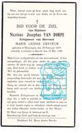 DP Nicolaus Josephus Van Dorpe ° Moregem Wortegem-Petegem 1874 † Burcht 1940 X Marie Leonie Creteur - Devotion Images