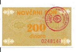 BOSNIE HERZEGOVINE 200 DINARA ND1992 XF P 48 - Bosnia Erzegovina