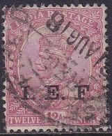 INDIAN EXPEDITIONARY FORCES 1914 SG E11 12a Used Optd I.E.F. Carmine-lake - Military Service Stamp