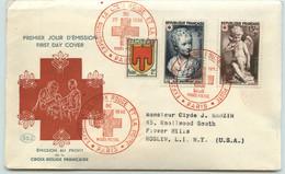 1950 Croix Rouge Yv 876-7  Adressé Aux USA   Oblit. Musée Postal - 1950-1959