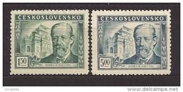 Czechoslovakia 1949 MNH ** Mi 578-579 Sc 386-387 B.Smetana.Tschechoslowakei - Unused Stamps
